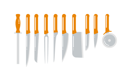 paring: Set of steel kitchen knifes carving, paring, and utility sharp tool cooking equipment collection vector illustration. Sharp kitchen knifes collection and steel kitchen knifes collection.