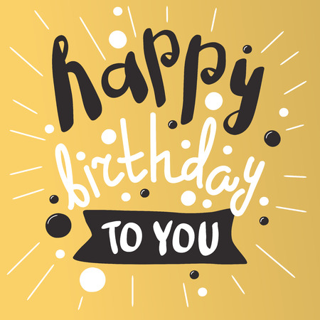 birthday invitation: Beautiful birthday invitation cards design gold and black colors. Birthday vector greeting card decoration. Gold, black strips, lettering. Calligraphy text for Birthday party. Birthday invitation Illustration