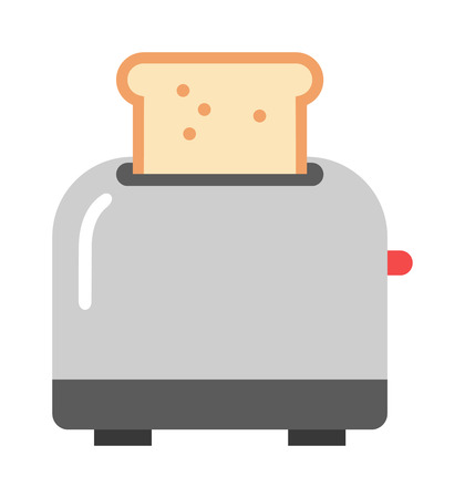 kitchen utensil: Toast popping toaster bread breakfast food kitchen utensil modern flat vector illustration. Kitchen toaster breakfast preparing and kitchenware toaster. Domestic household toaster machine. Illustration