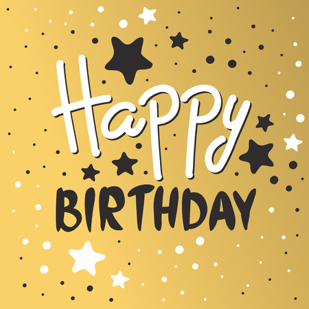 Beautiful birthday invitation cards design gold and black colors. Birthday vector greeting card decoration. Gold, black strips, lettering. Calligraphy text for Birthday party. Birthday invitation Ilustração