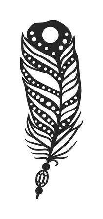 Hand getrokken gestileerde boho veren zwarte kleur en doodle tribale sier zwarte veer. Veer geïsoleerde pictogram. Zwarte veer natuur vogel. Decoratieve zwarte veer doodle vintage art grafische vector.