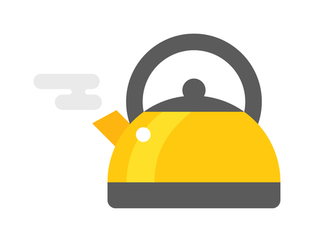 stainless steel pot: Kettle drink and handle kettle. Kettle electric, appliance hot boil domestic kettle icon. Flat appliance hot kettle electric equipment. Stovetop whistling kettle kitchen teapot flat vector.