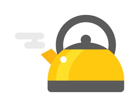Waterkoker drankje en greep een waterkoker. Ketel elektrisch, apparaat heet kook binnenlandse ketel icoon. Platte apparaat heet ketel elektrische apparatuur. Gasfornuis fluitketel keuken theepot plat vector.