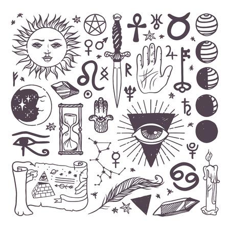 Jeu de mode vecteur symboles ésotériques dessiné collection croquis main. Religion, philosophie, la spiritualité, l'occultisme, la chimie, la science, les symboles ésotériques magiques. Concevoir des symboles ésotériques élément de tatouage. Vecteurs