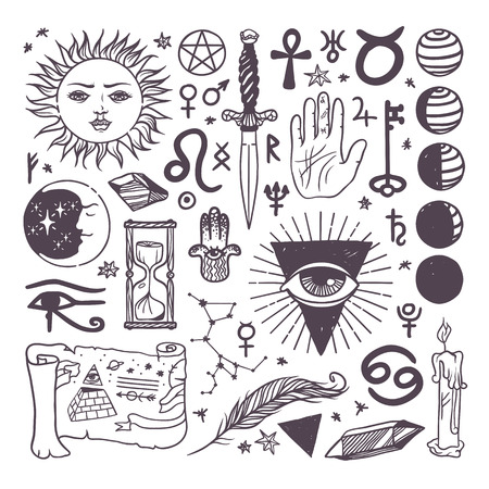 illuminati: Set of trendy vector esoteric symbols collection sketch hand drawn. Religion, philosophy, spirituality, occultism, chemistry, science, magic esoteric symbols. Design esoteric symbols tattoo element.