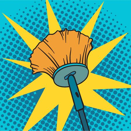 spring cleaning: Spring cleaning broom pop art background vector illustration. Spring cleaning broom and house spring cleaning broom. Housekeeping spring cleaning broom pop art background. Housework cleaner broom.