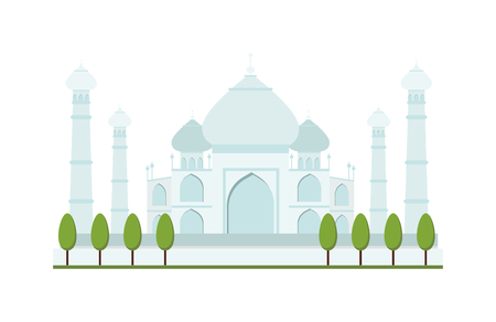 mausoleum: Taj Mahal bright clear day india agra palace travel architecture temple vector illustration. Taj Mahal architecture and Taj Mahal tourism monument. Taj Mahal indian religion famous mausoleum. Illustration