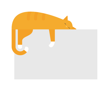 feline: Cute cat sleeping on platform house feline domestic young adorable kitten cartoon vector illustration. Relax cat sleeping and small red cat sleeping. Orange funny cat sleeping domestic pet.