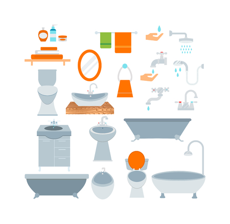 symbols: Bathroom icons colored set with process water savings symbols vector illustration. Bathroom symbols water icon and hygiene collection bathroom symbols. Faucet room clean bathroom symbols. Illustration