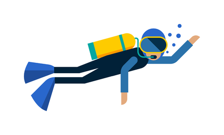 Scuba diver isolated equipment water sport activity vacation leisure vector illustration. Underwater people diver isolated and scuba diver isolated extreme diving sport. Cartoon diver isolated .