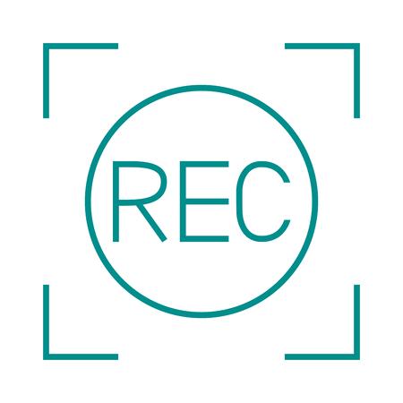 rec: Camera viewfinder rec sign multimedia cinema film vector icon. Media rec sign and record camera rec sign. Film rec sign button design and broadcast visual template rec camcorder sign.