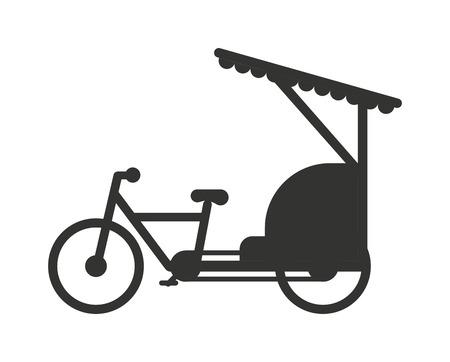 인력거 인도네시아 자카르타 택시 여행 교통 아이콘 평면 벡터 일러스트 레이 션입니다. 복고 스타일의 택시 수송 및 인력거 휠 관광 인력거. 전통적인