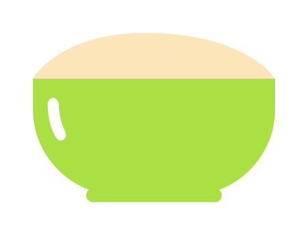 breakfast cereal: Green cereal plate healthy breakfast nutrition detailed flat vector icon. Cereal plate of food healthy breakfast nutrition and drink cereal plate ingredients for cooking. Cereal plate tasty lunch. Illustration