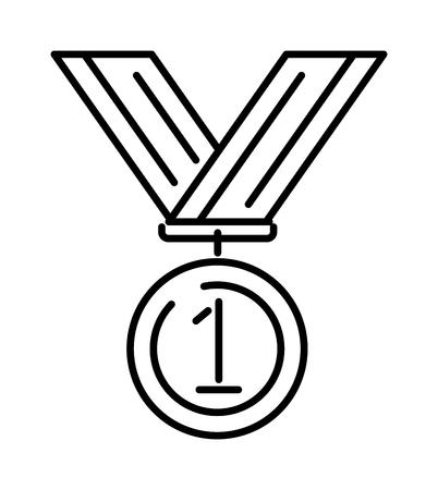 Award-Medaille Gold Erfolg Gewinner Wettbewerb Symbol mit Vektor-Kunst-Symbol Band Umriss. Auszeichnung Goldmedaille Symbol und Sieger-Preis-Medaille Symbol. Erfolg Leistung Champion Medaille Emblem Linie Symbol.