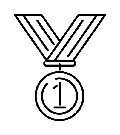 Premio medaglia oro successo vincitore simbolo di concorrenza con nastro illustrazione vettoriale icona vettoriale. Premio medaglia d'oro e simbolo della medaglia di vincitore. Icona della linea di emblema della medaglia campione di successo. Archivio Fotografico - 55710391