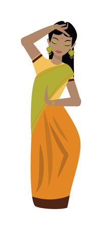 asian ethnicity: Young traditional indian woman ethnicity clothes portrait vector character illustration. Ethnicity indian woman and asian beautiful indian woman portrait. Character indian woman culture.