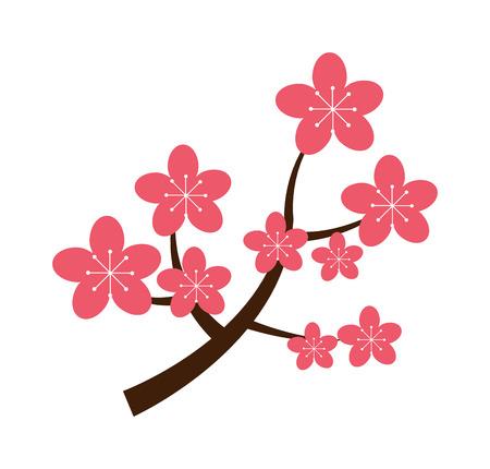 cherry branch: Realistic sakura japan cherry branch with blooming flowers vector illustration. Sakura japan cherry flower and pink sakura japan cherry floral. Traditional sakura japan blooming tree design. Illustration