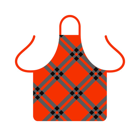 protective apron: Kitchen apron cooking chef uniform protective clothing vector illustration. Kitchen apron chef uniform and textile kitchen apron. Kitchen apron uniform housewife  clothing pocket fashion accessory.