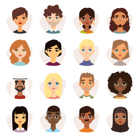 Set of diverse round avatars with facial features different nationalities, clothes and hairstyles. Cute different nationalities flat cartoon style faces avatars different nationalities man and woman.