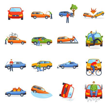 自動車事故衝突交通保険と車衝突安全自動車災害。車事故災害スピード修理。自動車事故車クラッシュ都市道路のベクター イラストです。  イラスト・ベクター素材
