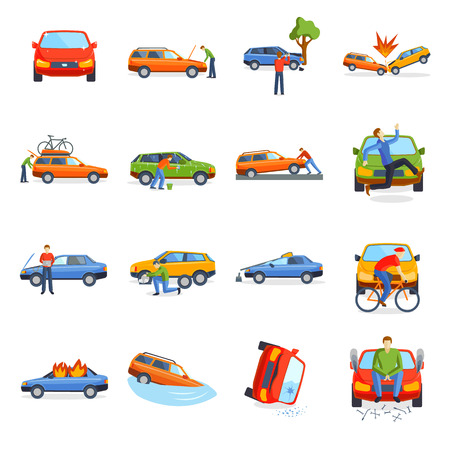 Car crash collision traffic insurance and car crash safety automobile emergency disaster. Car crash emergency disaster speed repair. Auto accident involving car crash city street vector illustration. Illusztráció