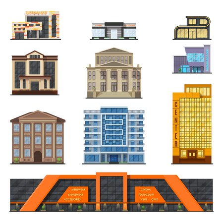 front house: Flat style modern classic municipal buildings front, facade city design vector. Stylish design buildings front architecture collection. Facade buildings front house. Buildings front classic facade. Illustration