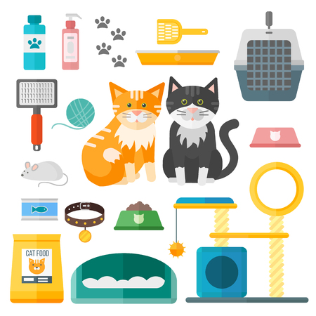 cage: Pet supplies cat accessories animal equipment care grooming tools vector set. Cat accessories and food, domestic feline cat accessories. Cartoon animal kitten safety cat grooming accessory. Illustration