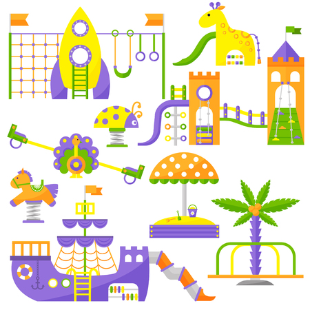 sandpit: Children playground fun childhood play park activity flat vector illustration. Happy children playground activity and outdoor summer children playground place. Children summer playground equipment. Illustration