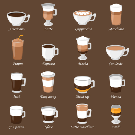 Coffee cups different cafe drinks types espresso mug with foam beverage breakfast morning sign vector. Coffee cups breakfast and morning coffee cups. Coffee cups with foam, different foam coffee. Illustration