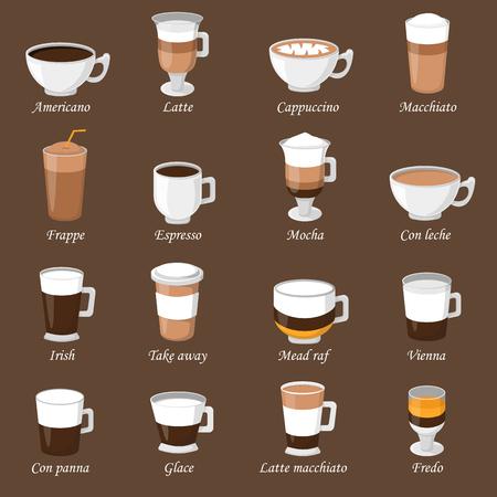 tazas de café de diferentes tipos de café espresso bebidas taza con espuma de la bebida del desayuno por la mañana signo de vectores. Las tazas de café de desayuno y las tazas de café de la mañana. Tazas de café con espuma, espuma de café diferente. Ilustración de vector