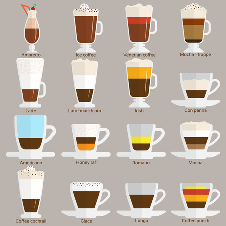 morning coffee: Coffee cups different cafe drinks types espresso mug with foam beverage breakfast morning sign vector. Coffee cups breakfast and morning coffee cups. Coffee cups with foam, different foam coffee. Illustration