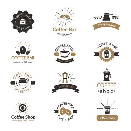 커피 로고 쇼핑 로그인 카페 기호 에스프레소 설계 아침의 설정은 현대 배지 벡터를 마신다. 커피 로고 카페 기호와 모닝 커피 로고. 커피 잔 로고 라벨