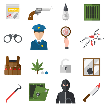 criminals: Crime icons protection law justice sign security police gun icon in flat colors vector. Crime thief prison icons and legal safety crime icons. Crime icons gavel lock investigation. Criminal set. Illustration