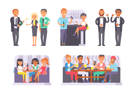 bachelor: Group of friends enjoying evening drinks in bar alcohol people character vector illustration. Drunk people party and bachelorette party. Bachelor party alcohol people nightlife drunken leisure. Illustration