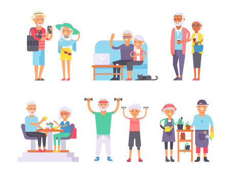 Geriatric care pensioners retirees and happy senior woman elder age characters vector illustration. Health pensioners retirees and active lifestyle pensioners retirees. Pensioners retirees support.
