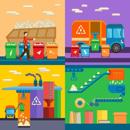 쓰레기 재활용 환경 플랫 스타일 벡터 일러스트 레이 션을 정렬 낭비. 쓰레기 재활용 환경 폐기물 분류 및 생태 오염 폐기물 분류. 개념 관리를 정렬 폐