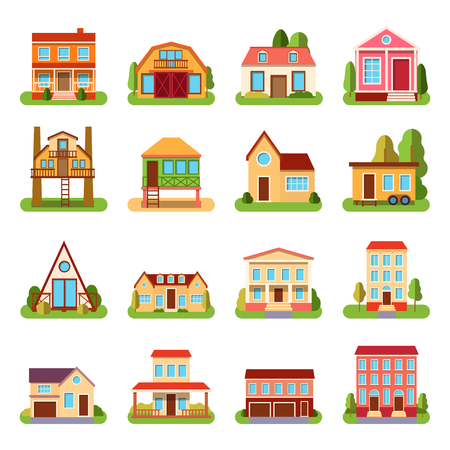 house building: Set of detailed colorful cottage house building flat style modern constructions vector illustration. House building architecture home construction and urban house building apartment. House building. Illustration