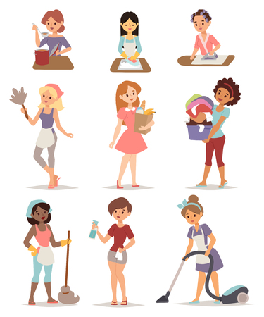 homemaker: Set of housewife icon homemaker cleaning ironing cook wash and shopping vector illustration. Housewife cleaning lady set and woman housewife set character. Mother housewife work cute cleaning set.