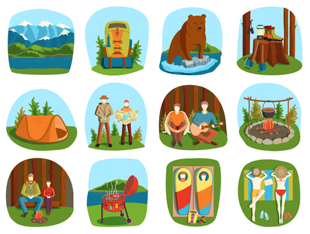 camping equipment: Set of camping equipment symbols and icons summer outdoor vacation vector illustration. Camping cartoon people and camping forest backpack. Camping summer outdoor icons vacation equipment collection.
