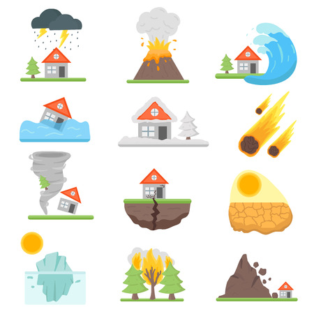 Home insurance business set vector illustration with house icons suffering from natural events or disasters. Layout natural events, disasters template for infographics. Danger natural events.