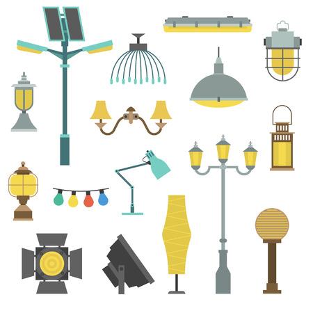 Lampen stijlen elektriciteit designklassieker lichte meubels, verschillende soorten elektrische apparatuur vector illustratie. Vector lampen ander licht type en elektrische vector lampen. Energy decoratieve lampen.