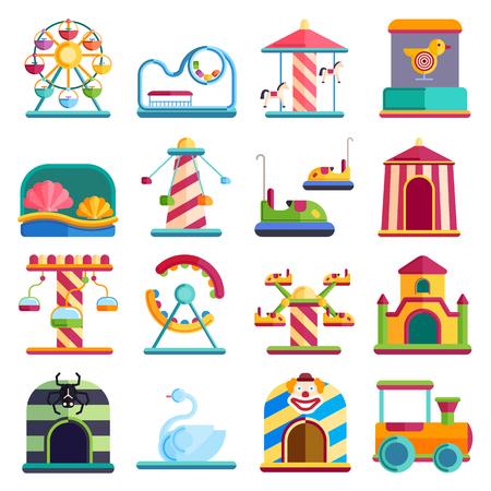 Slides and swings amusement park, ferris wheel attraction park. Carnival amusement park leisure festival ride. Flat design conceptual city elements with carousels amusement park vector illustration. Illustration