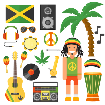 Reggae artist musical instrument and rastafarian elements collection vector illustration. Rastafarian jamaica green vector and rastafarian music art style. Jamaica rastafarian african culture. Illustration