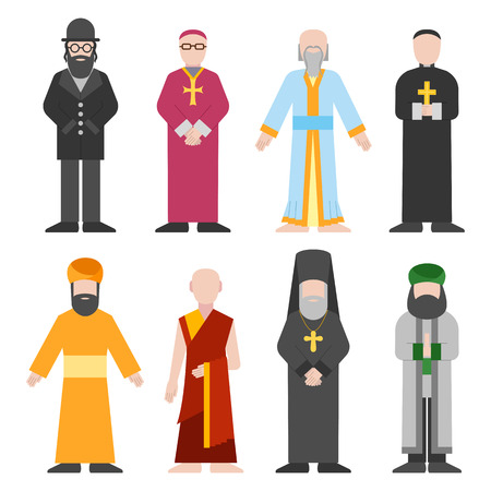 Vector set of different religion people confession man. People of different religion in traditional clothing in trendy flat style. Religion people islam and catholic religion people character icons.  イラスト・ベクター素材