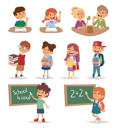 school canteen: niños de la escuela grupo de estudio juntos, felices educación primaria vector de caracteres que van infancia. niños de la escuela la educación y los niños felices de la escuela estudian en la escuela primaria. niños de la escuela en el aula de preescolar. Vectores