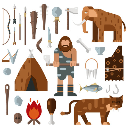 Life stone age caveman cave bonfire mammoth bone vector. Caveman weapon spear stick stone. Caveman cartoon action neanderthal evolution. Prehistoric stone age presenting life cavemen primitive tools Imagens - 55751394