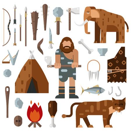 prehistoric age: Life stone age caveman cave bonfire mammoth bone vector. Caveman weapon spear stick stone. Caveman cartoon action neanderthal evolution. Prehistoric stone age presenting life cavemen primitive tools