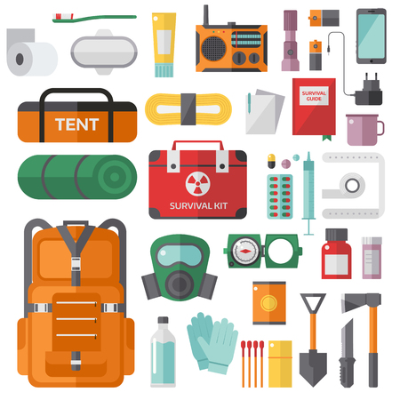 first aid kit key: Survival emergency kit for evacuation vector objects set. Survival kit equipment flashlight knife items and survival travel kit. Survival kit camp tool backpacking exploration tourism hiking disaster. Illustration