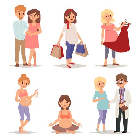 Jonge zwangere vrouw, zwangerschap vrouwelijke buik expecting mooie toekomst moeder karakter vector set. Zwangere vrouw set en zwangere vrouwen lifestyle happy mathernity vrouw. Liefde ouder moederschap.