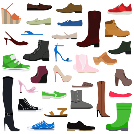 clogs: Women shoes isolated collection of various types of female footwear vector illustration. Shoes isolated fashion footwear and leather shoes isolated. Shoes isolated elegance sport casual accessory.